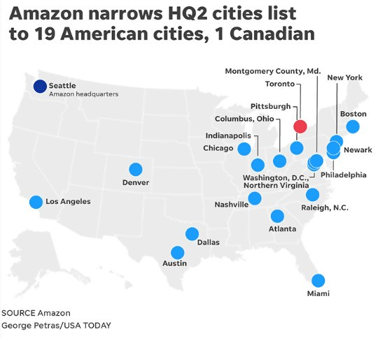 amazon hq2 cities list in america