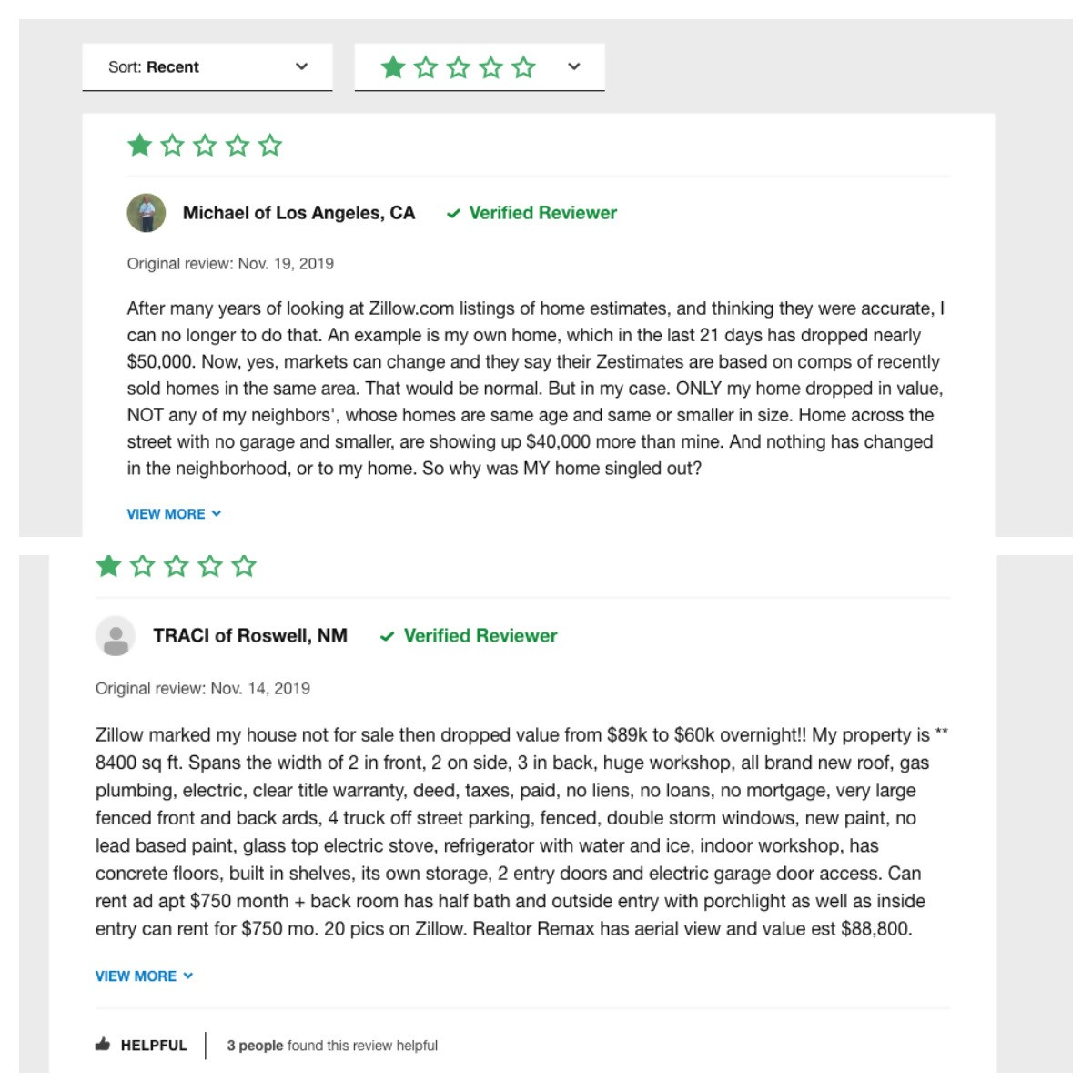zillow reviews from verified reviewers